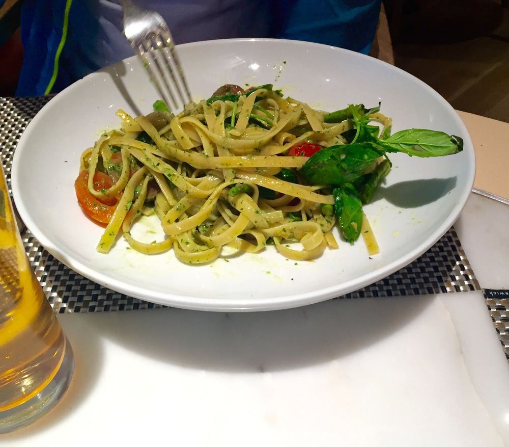 Summer Vegetables Fettuccine:   Ayala goat cheese mousse, fresh tomato baby kale, pesto, snow pea and grilled asparagus Arbequina Olive Oil