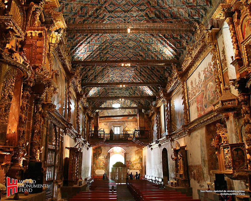 Not my picture; I got yelled at when I tried to photograph the exquisite ceiling of this chapel in Chinchero. Image source: http://www.go2peru.com/peru_guide/cuzco/around_cuzco.htm