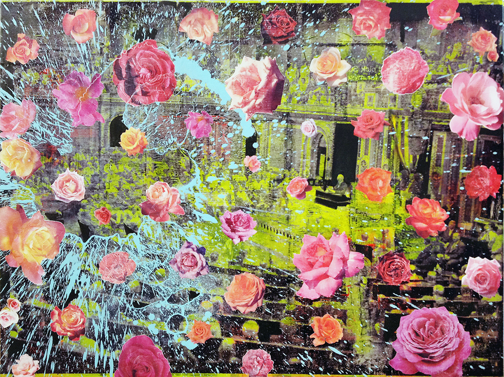 Rosy Spin mixed media collage