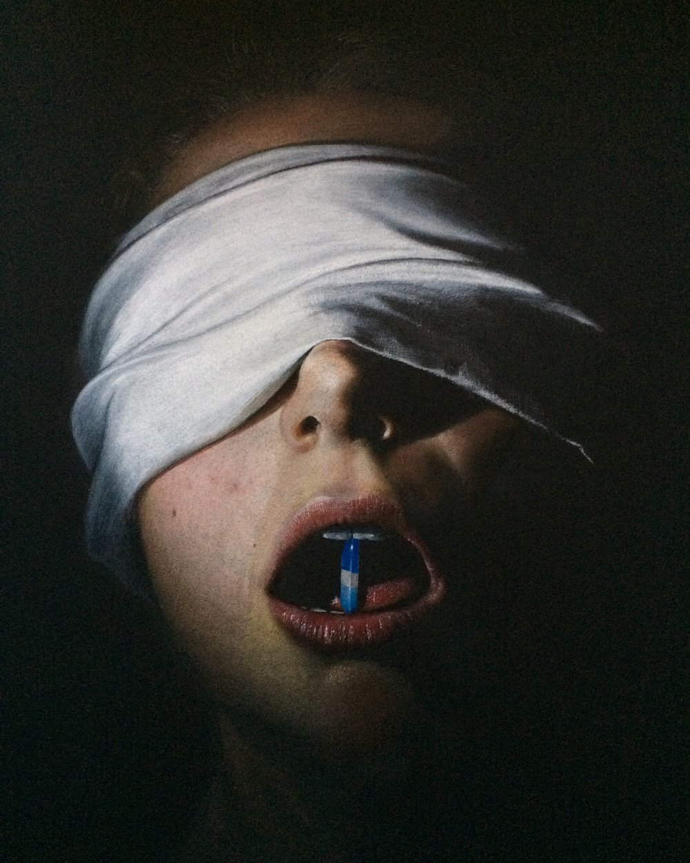 "Shelby Scattergood's colored pencil drawing ""Blind Faith"""