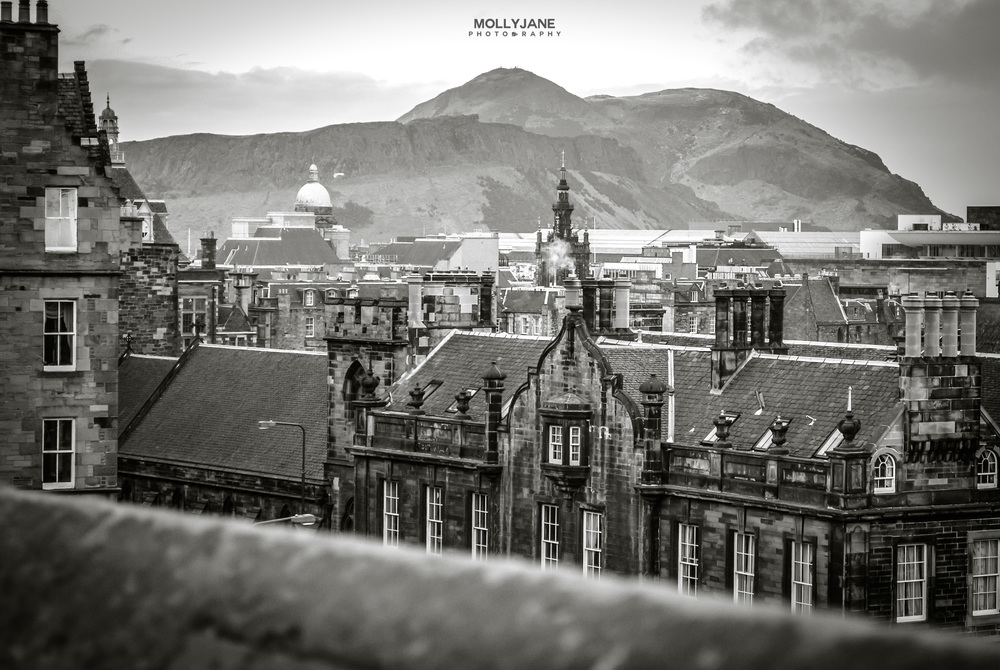The view of Holyrood Park and Arthur's Seat from Edinburgh Castle (Overlooking the Grassmarket) || Edinburgh