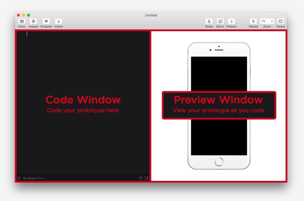 The Framer Interface consists of two main areas.  The Code Window and the Preview Window