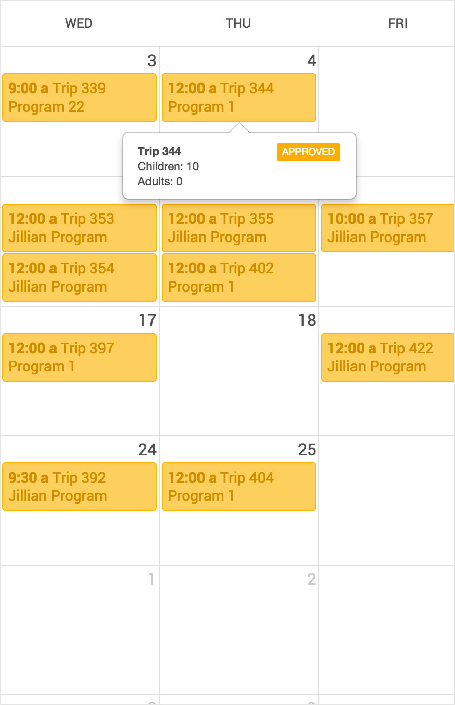 Detail view of scheduler
