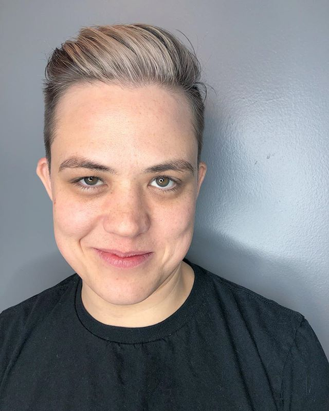 Congrats to Ian-Meredythe on being recognized for their efforts to get the state of Maine to add a non binary gender option on our state ids!! I had the pleasure of getting them ready for the Equality Maine gala/awards with this cut + color silver fox action 💖 . . . . . . #tashadoeshair #tashacutit #portlandmaine #mainersdoingcoolshit #shortcuts #mainehairstylist #mainecuttingspecialist #newenglandhair