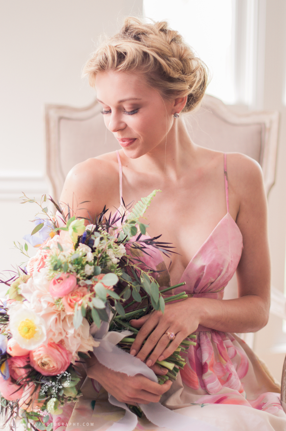 beautiful Bride with flower bouquet