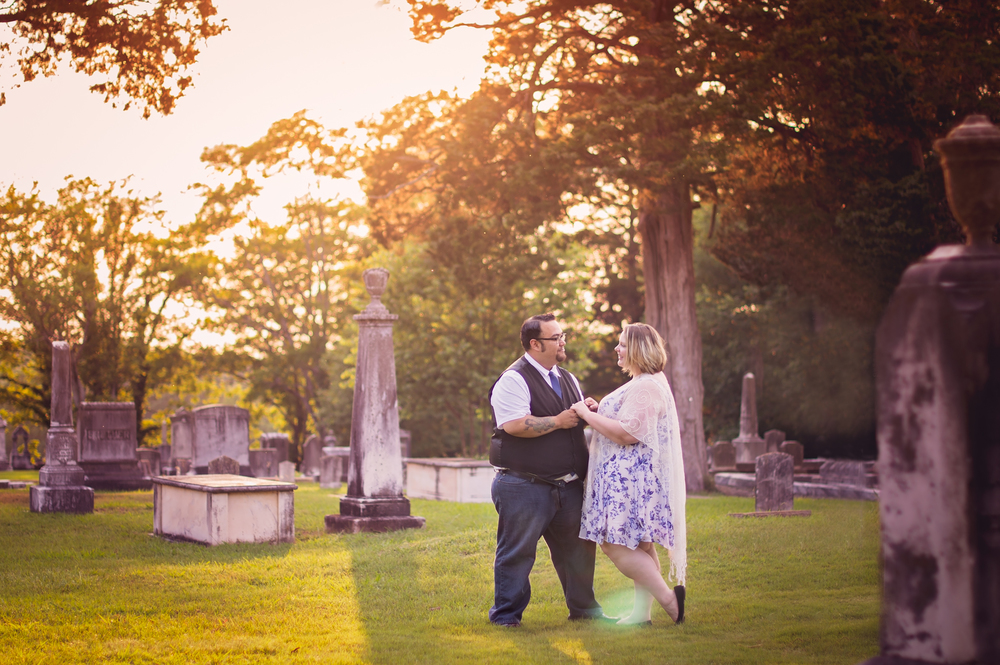 Unique Engagement Session at Mountain View Cemetery in marietta, GA