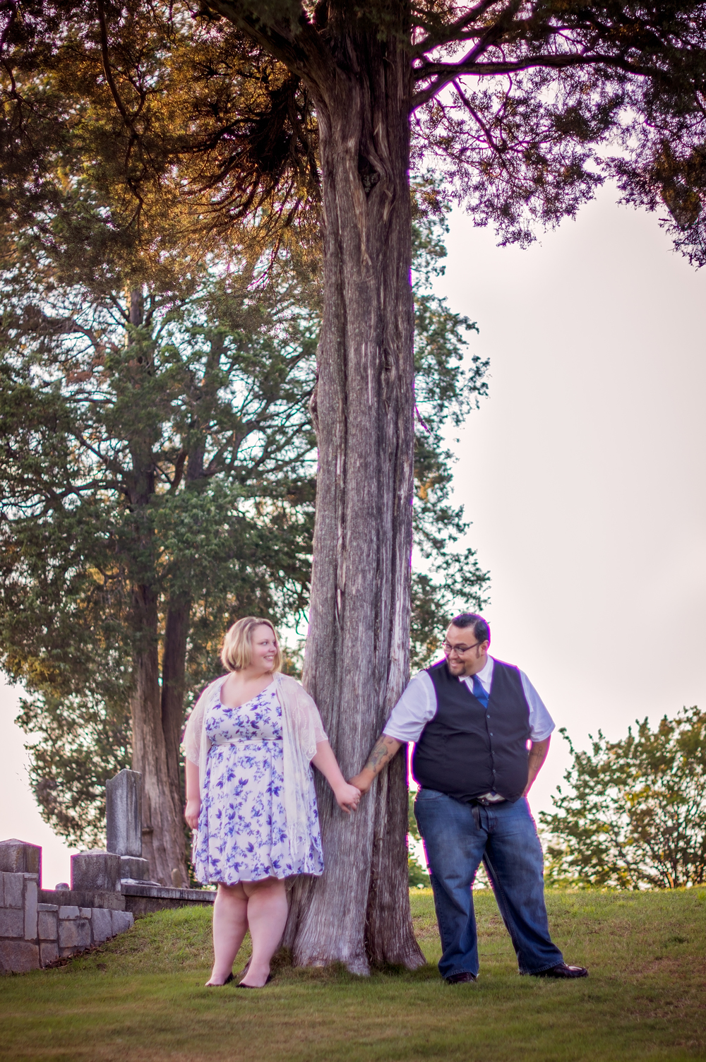 Outside Engagement session with beautiful tree in Marietta, GA