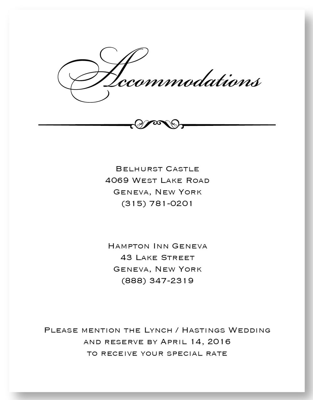 The Belhurst - Accommodation Card