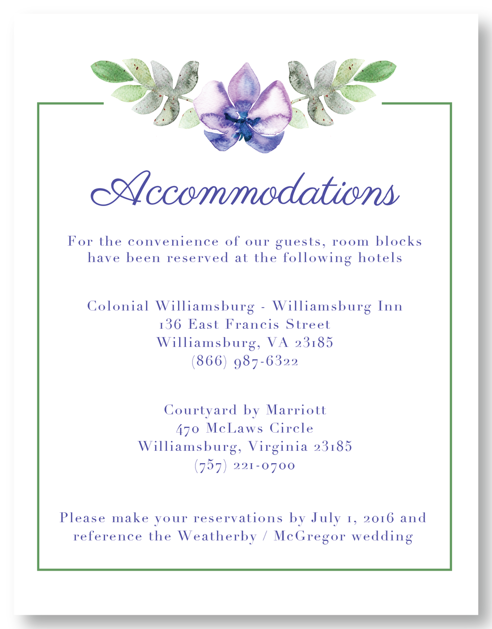 The Williamsburg - Accommodation Card
