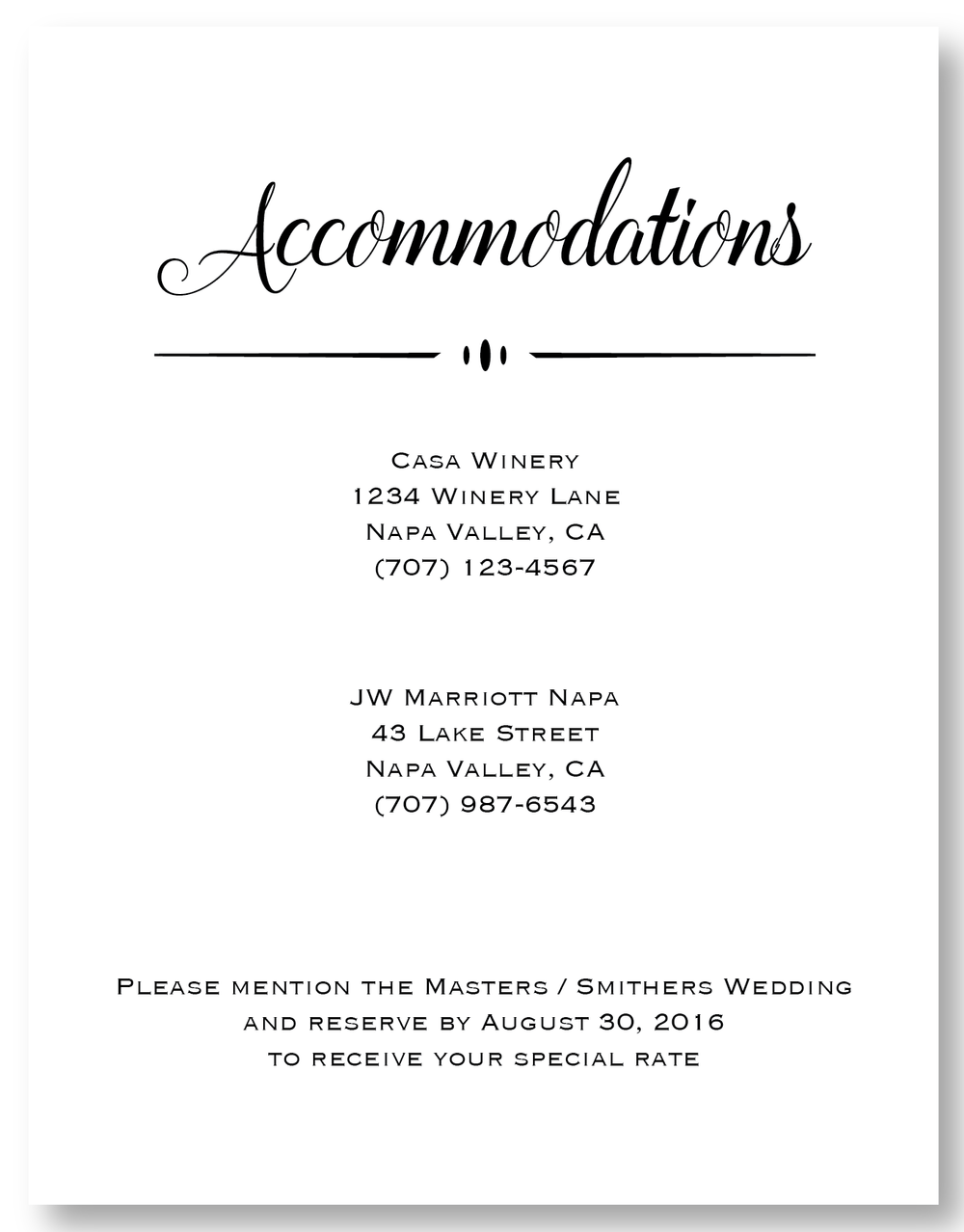 The Napa Valley - Accommodation Card
