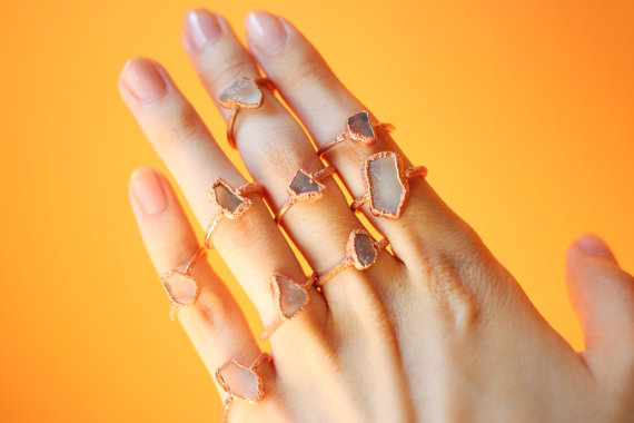 Electroformed Copper Clear Sea Glass Ring - $40