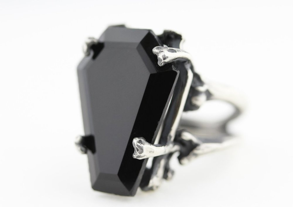 Blood Milk Jewels Easeful Death Onyx Coffin Ring