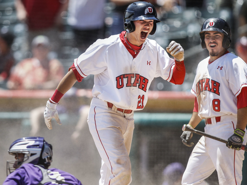 Utah Utes' DaShawn Keirsey Jr. (21) scores during game two of the Pac-12 baseball championship three-game series against the Washington Huskies at Smith's Ballpark in Salt Lake City Saturday, May 28, 2016. The Utes defeated the Huskies 12-8, making the series 1-1.