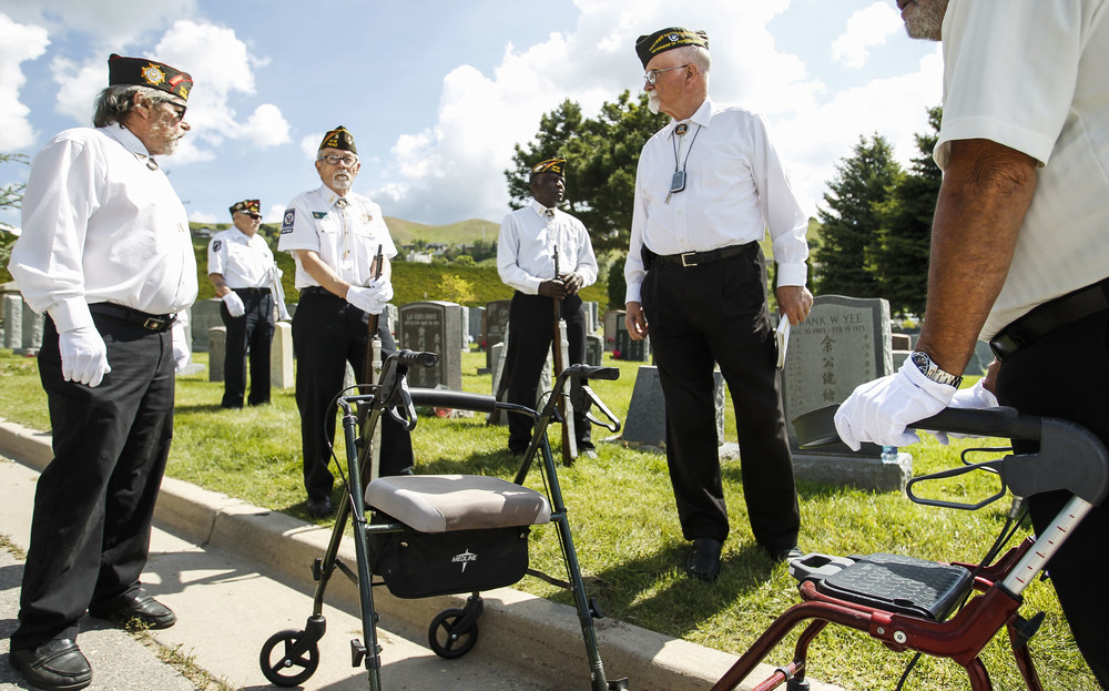 Members of the Veterans of Foreign Wars prepare for the 21-gun salute before the memorial service in Salt Lake City, Utah, on Friday, May 27, 2016, for those who donated their bodies to the University of Utah School of Medicine. After the bodies are studied or used in research, they are cremated and the remains are then given to the family or buried in the Salt Lake City Cemetery.