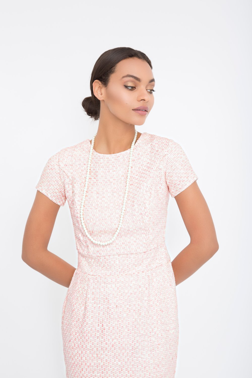 Light Pink Tweed Sheath Dress