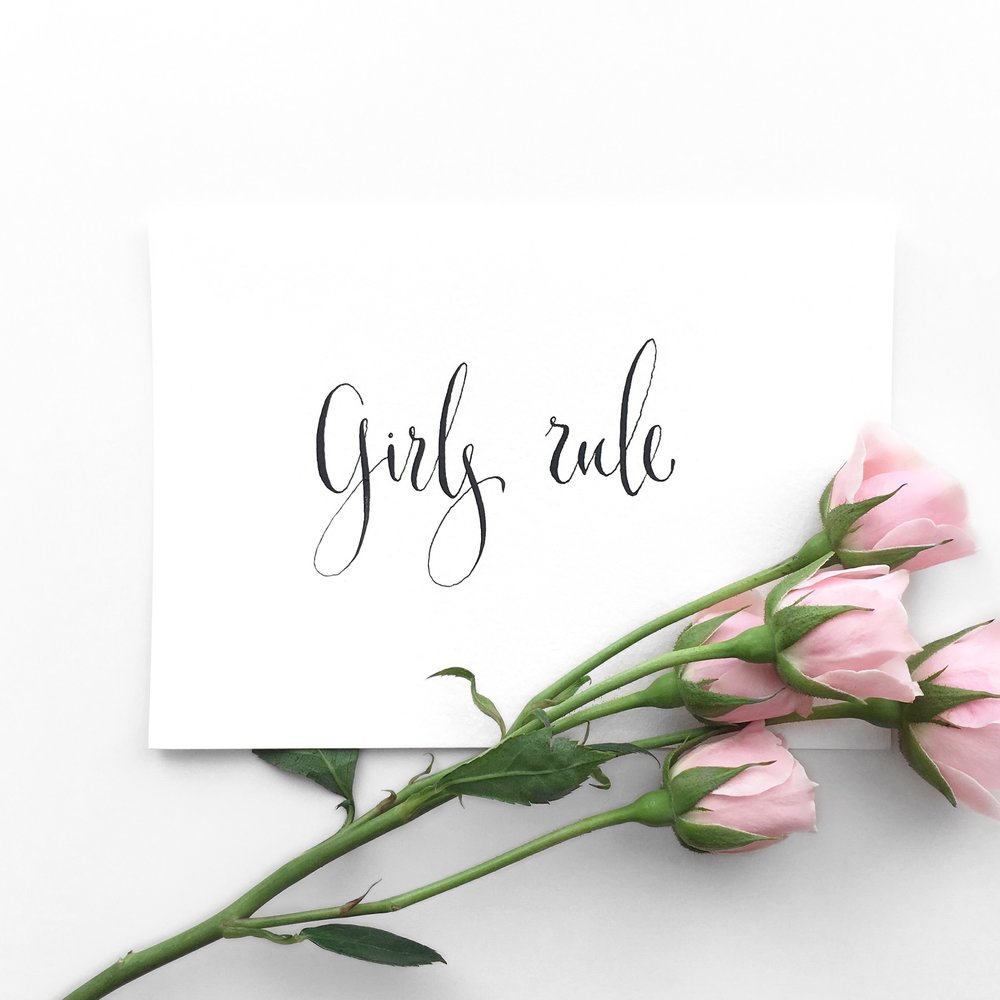Girls Rule + Pink Roses + Flatlay