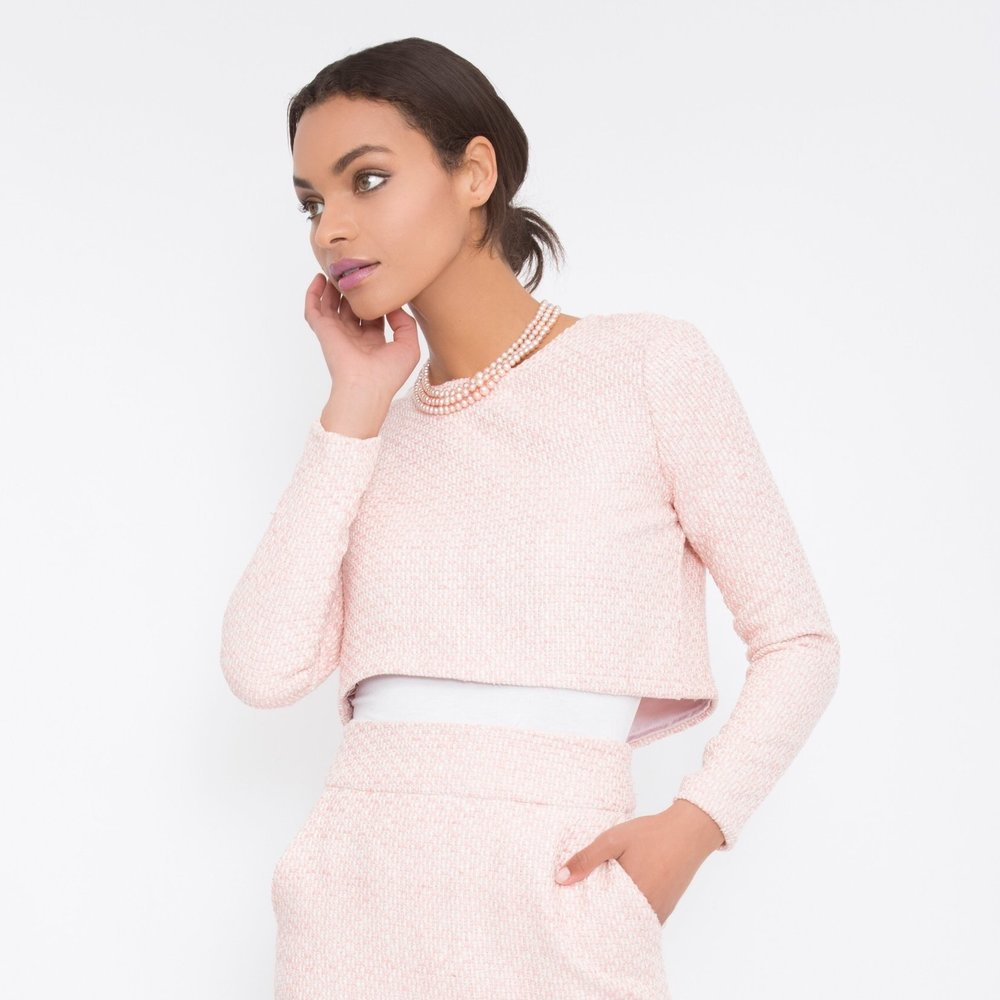 Pink tweed pencil skirt set NATIA ERIN