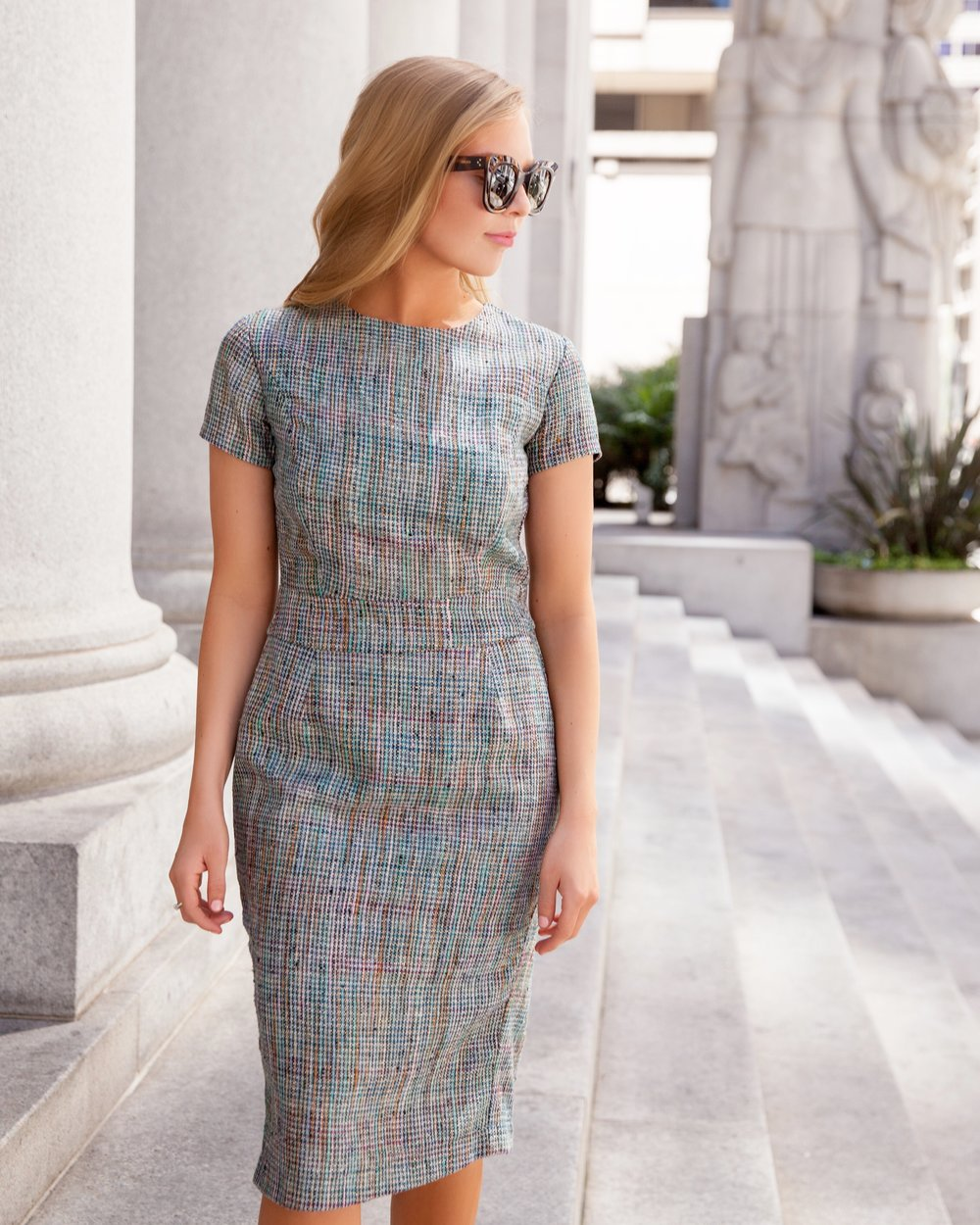 Sunny lunch break in the Tech Tweed Sheath Dress. ☀️