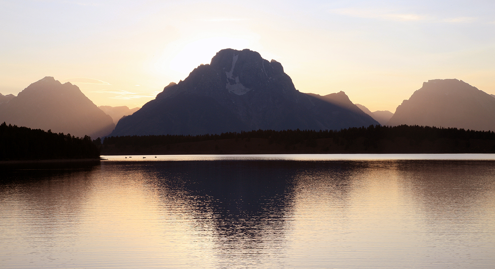 Silhouette on Jackson Lake