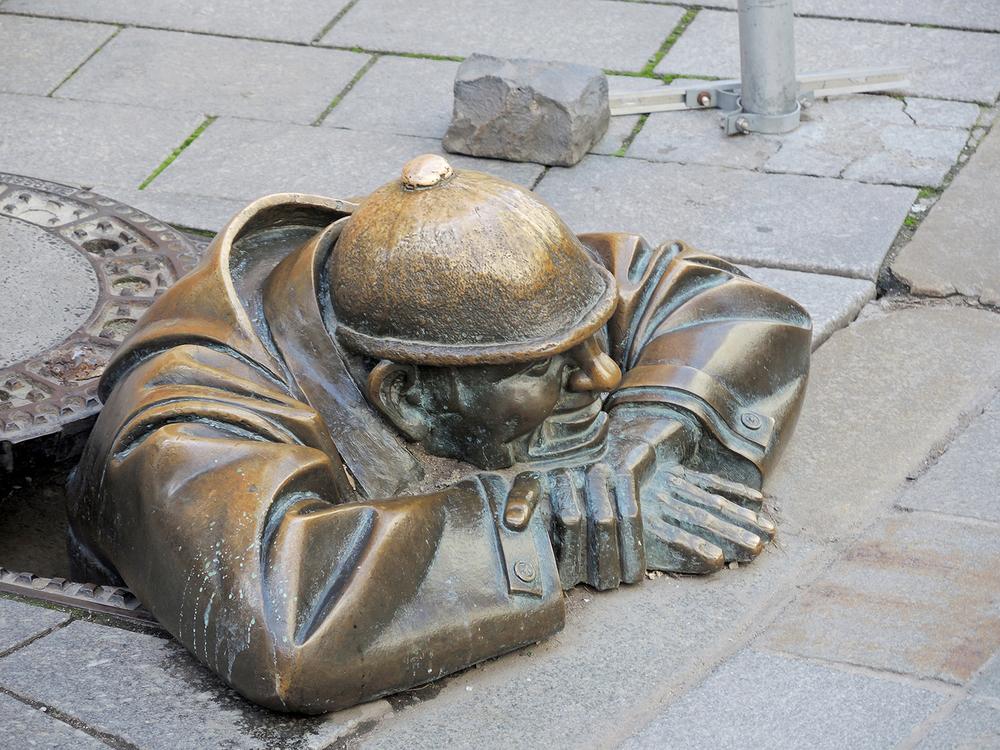 Manhole Statue in Bratislava
