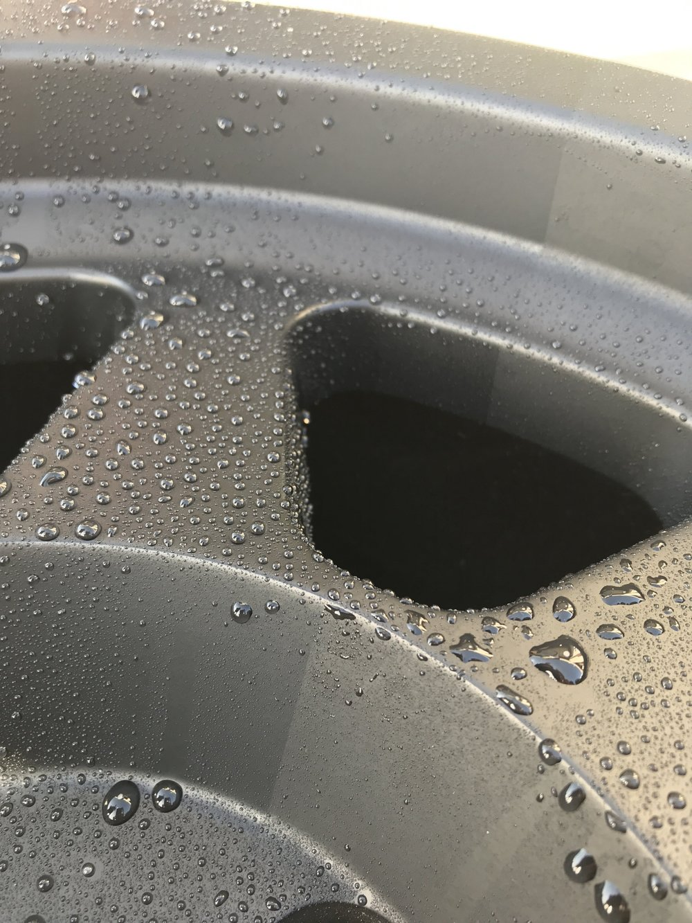"""BeadLock"" Wheel & Suspension Ceramic Coating - 50/50 Shot of wheels coated with Beadlock"