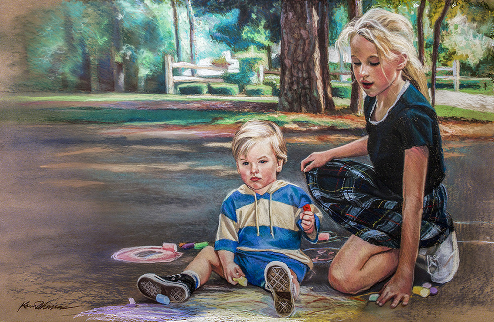 """""""Kate & Max"""" • 30"""" x 40"""" • pastel on toned paper • NFS"""