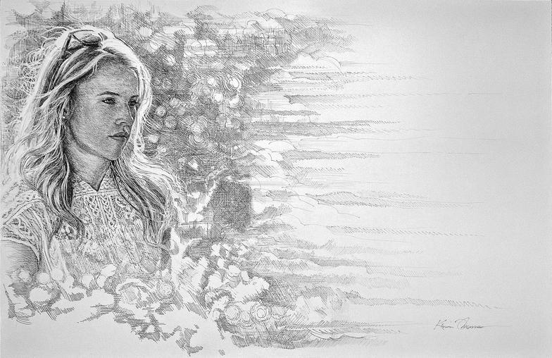 """Kate"" • 20"" x 30"" Full view • pen & ink"