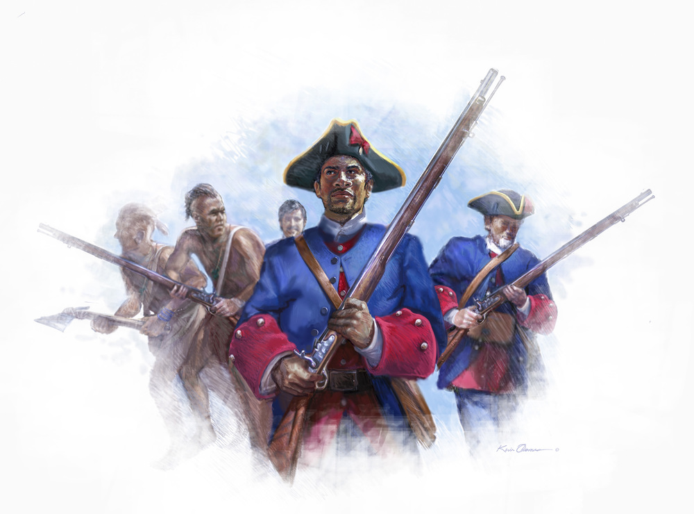 """John Palmer's Raid"" • Digital illustration, Captain Menendez and Spanish militia in pursuit of British occupied Fort Mose, June 1740. • Fort Mose Visitors Center St. Augustine, FL. © KT"
