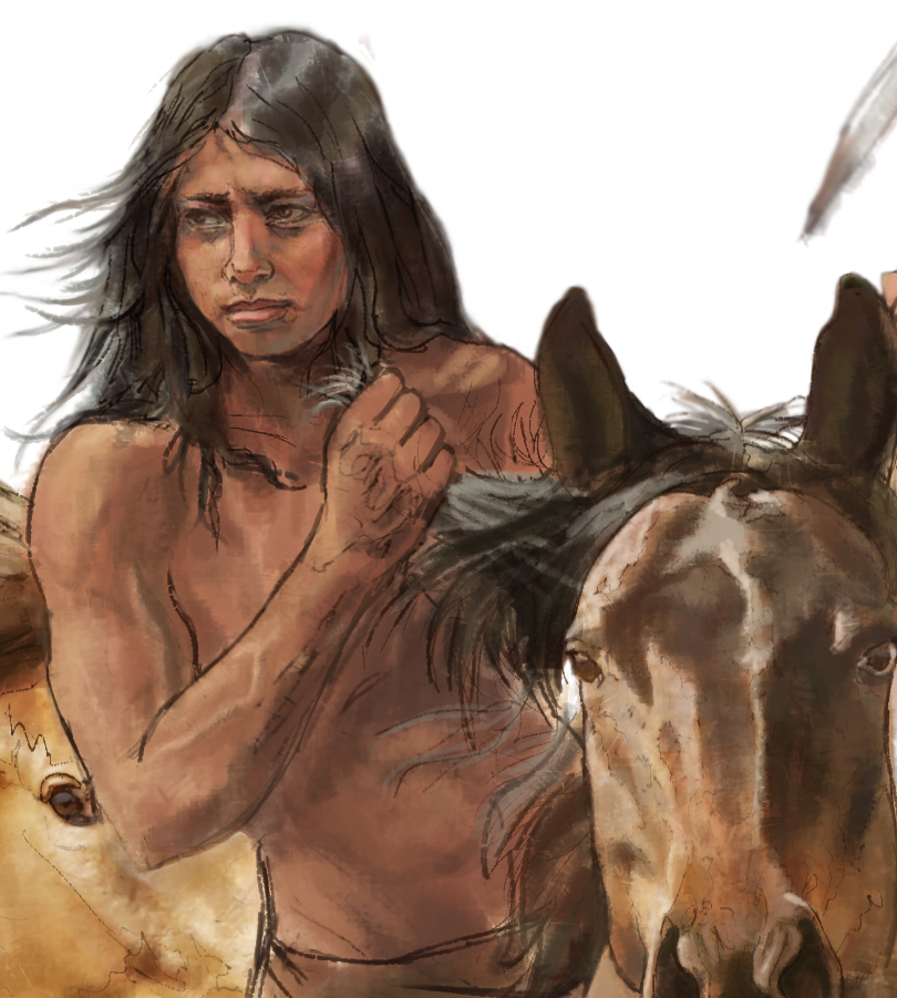 """Comanche boy warrior""- Detail • Digitally rendered illustration for graphic panel • Tales N' Trails Museum, Nocona, TX. © KT"