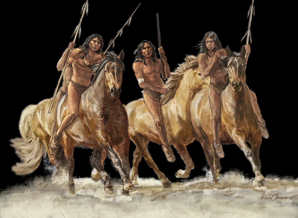 """Comanche warriors"" • Illustration for graphic panel • Tales N' Trails Museum, Nocona, TX. © KT"