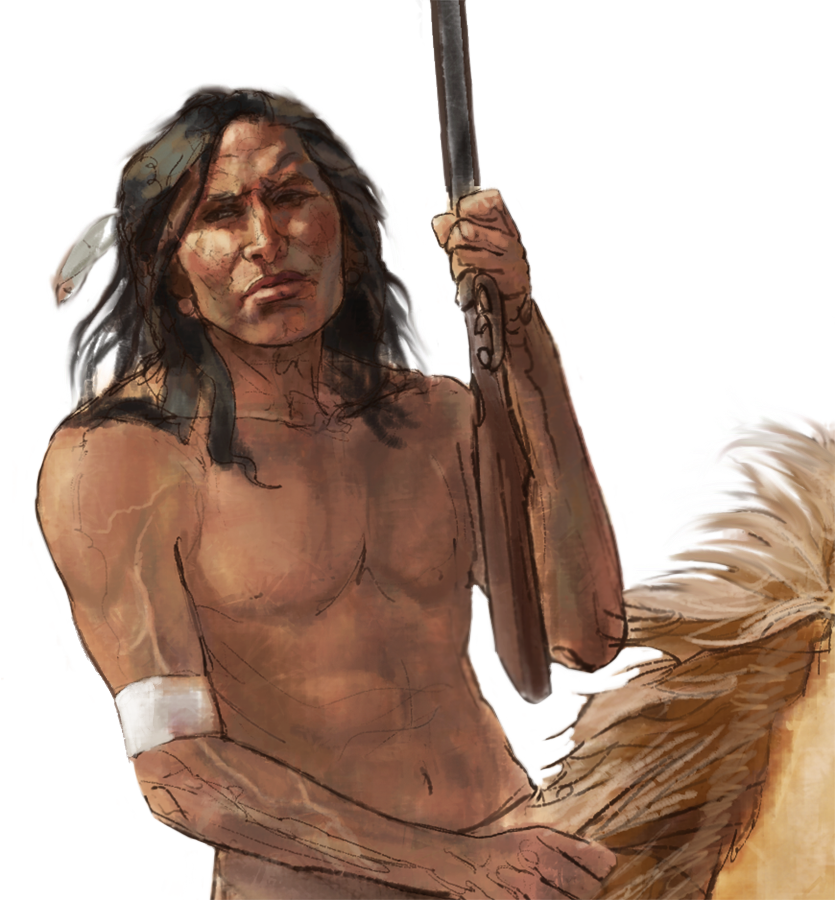 """Comanche Warrior""- Detail • Digitally rendered illustration for graphic panel • Tales N' Trails Museum, Nocona, TX. © KT"