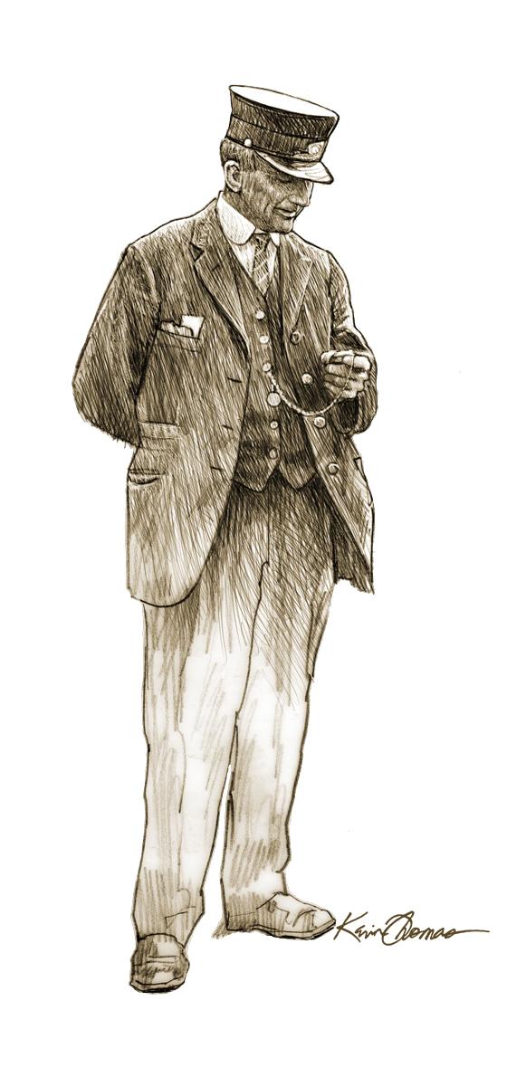 """""""Conductor"""" • Digital illustration • Hamlet Depot & Museum, Hamlet, N.C. Illustration for a life size standee. © KT"""