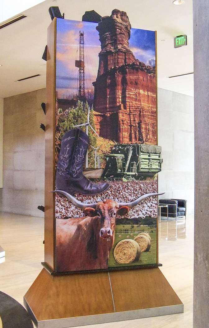 """Pylon Design"" • Exhibit lobby of the Federal Reserve Bank of Dallas. This 4' by 9' pylon design has stand-off embellishments throughout & depicts prominent images from the region of NW Texas."
