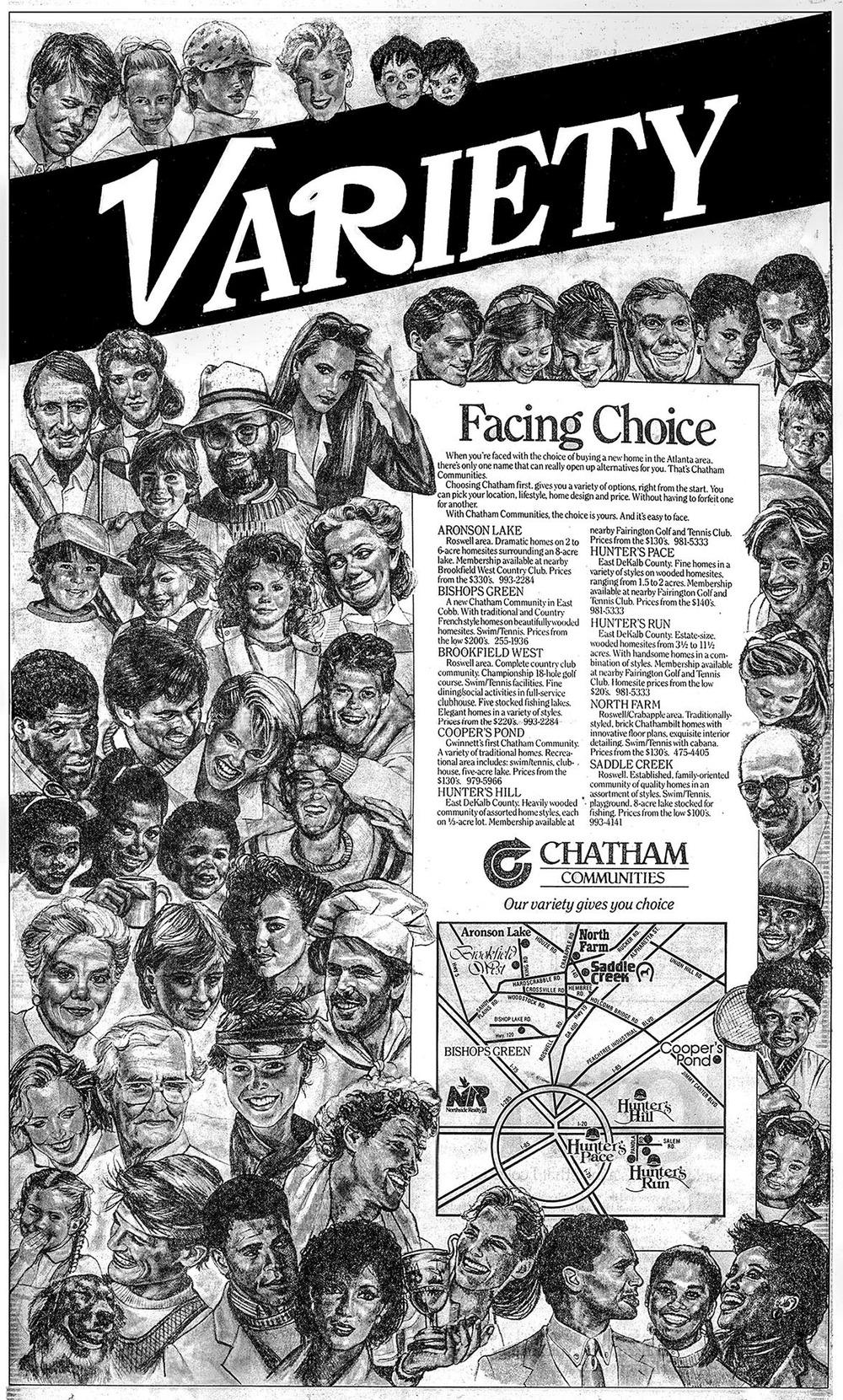 """Variety"" • Illustration • Design, Atlanta Journal Newspaper • Chatham Communities. © KT"