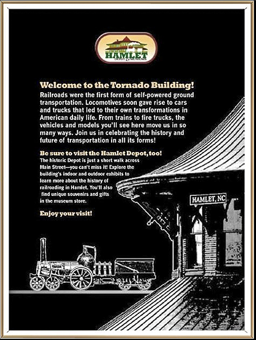 """""""Hamlet Depot & Museum"""" • Final design (option C)  at top of this graphic panel. Panel assemblage by Chris Wilder for the Tornado building- lobby of east wall • Hamlet, N.C. © KT"""