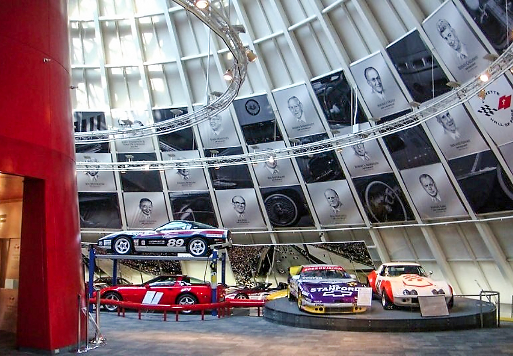 "National Corvette Museum, ""Hall Of Fame"" portraits, Forty-three HOF inductees • These graphite renderings surround the spire of the NCM, Bowling Green, Kentucky. © KT"