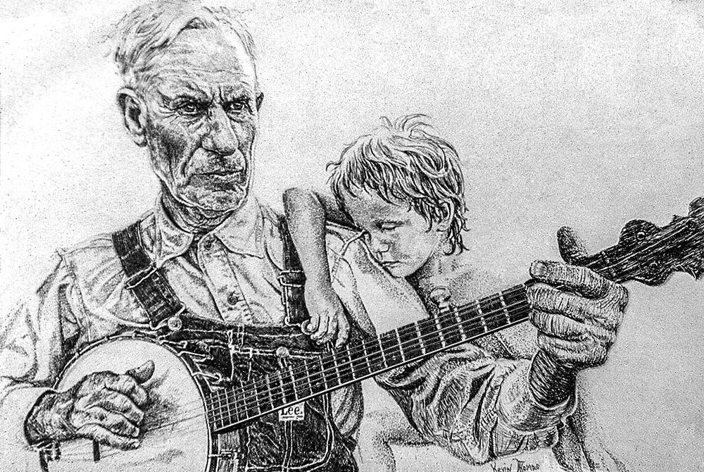 """""""Banjo Picker"""" • 16"""" x 18"""" • pen & ink"""