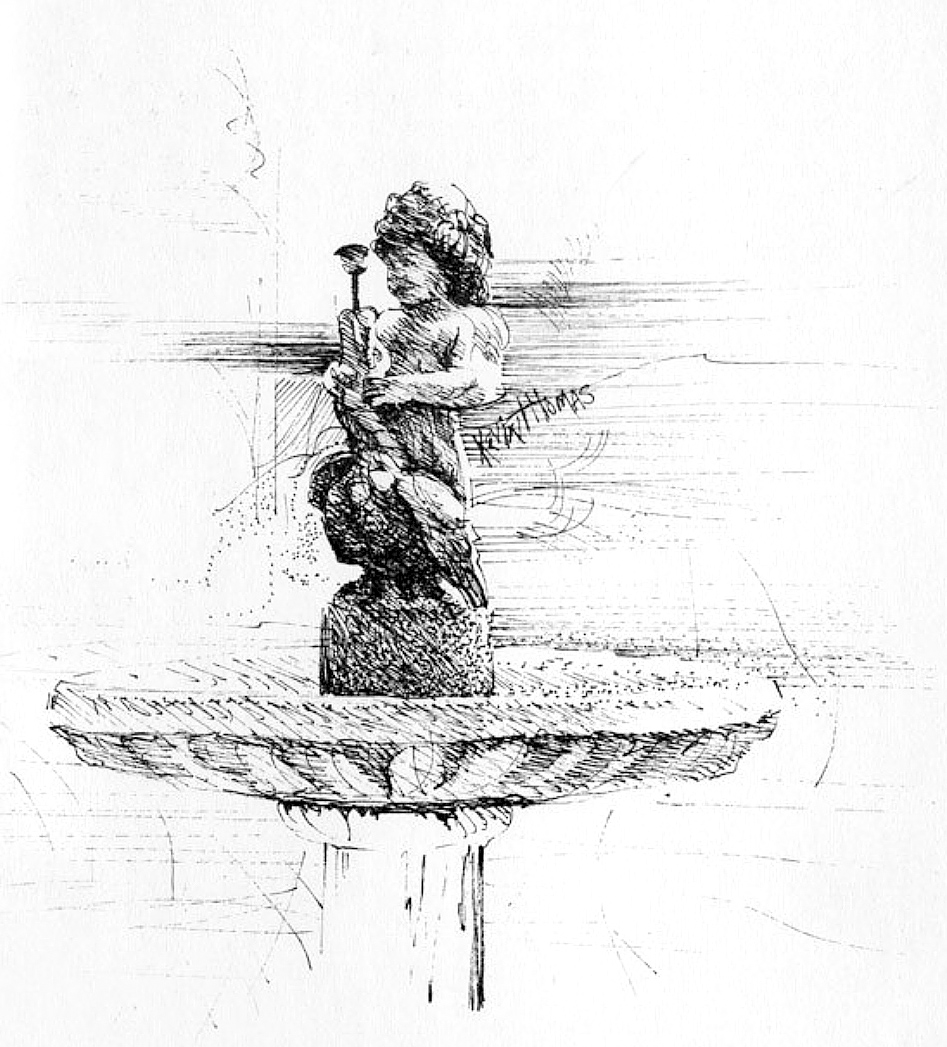 """Bird Bath"" • 10"" x 12"" • Pen & ink"