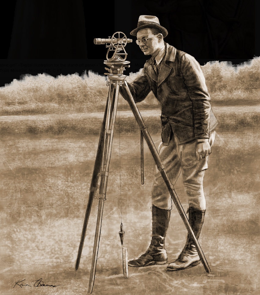 """Surveyor"" • Sepia-tone digital Illustration • The Mount Pleasant Historical Museum • Mount Pleasant, TX. © KT"