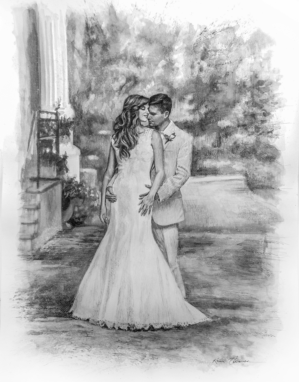 """""""Trina and Colby"""" • 19"""" x 24"""" • Pen & ink w/ink wash"""