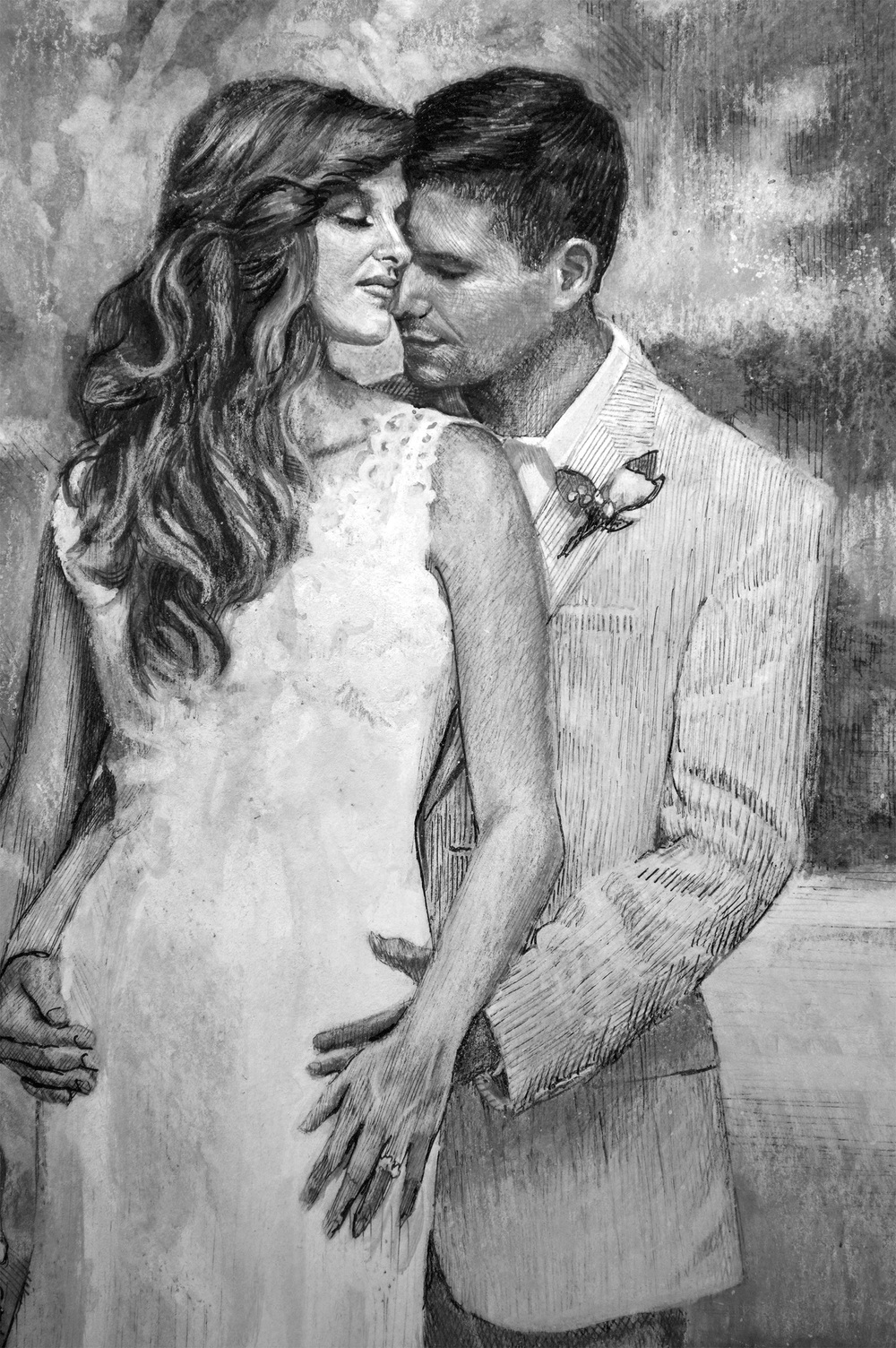 """""""Trina and Colby"""" detail- Pen & ink w/ink wash"""