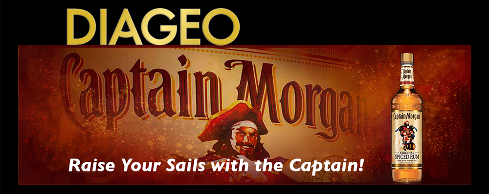 Diageo Beverage Company • Captain Morgan design for a 14' by 48' digital billboard for downtown Atlanta, GA. The Diageo Logo embellishment fabricated metal channel box letters. © KT