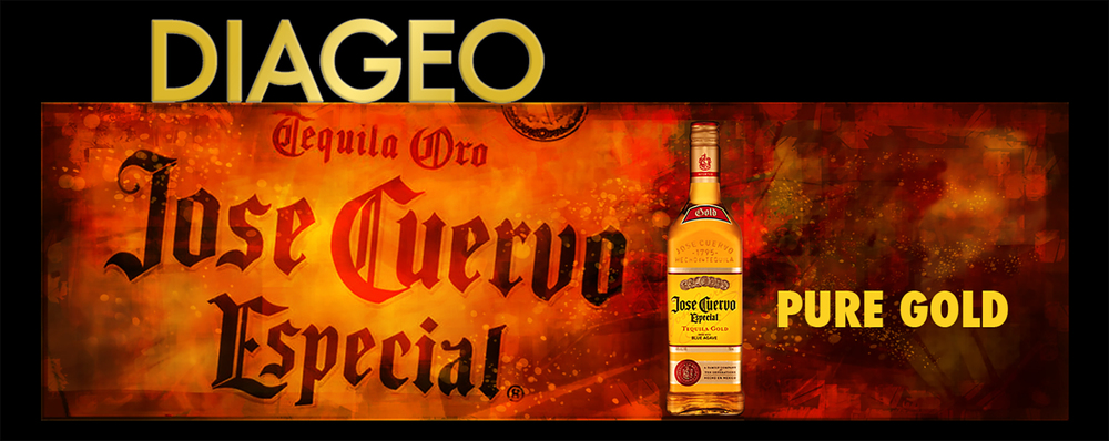 Diageo Beverage Company • Jose Cuervo design for a 14' by 48' digital billboard for downtown Atlanta, GA. The Diageo Logo embellishment fabricated metal channel box letters. © KT