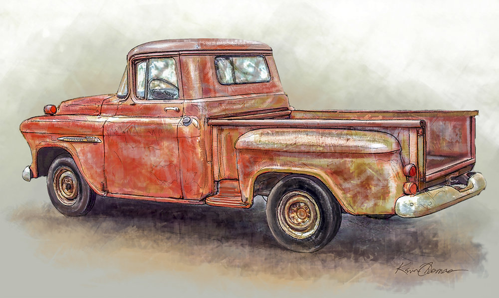 """Chevy pick-up"" • Digital illustration • Tales N' Trails Museum, Nocona, TX. © KT"