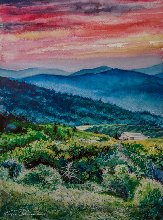 "Overlook Barn- Banner Elk, NC • 12"" x 15"" • watercolor"