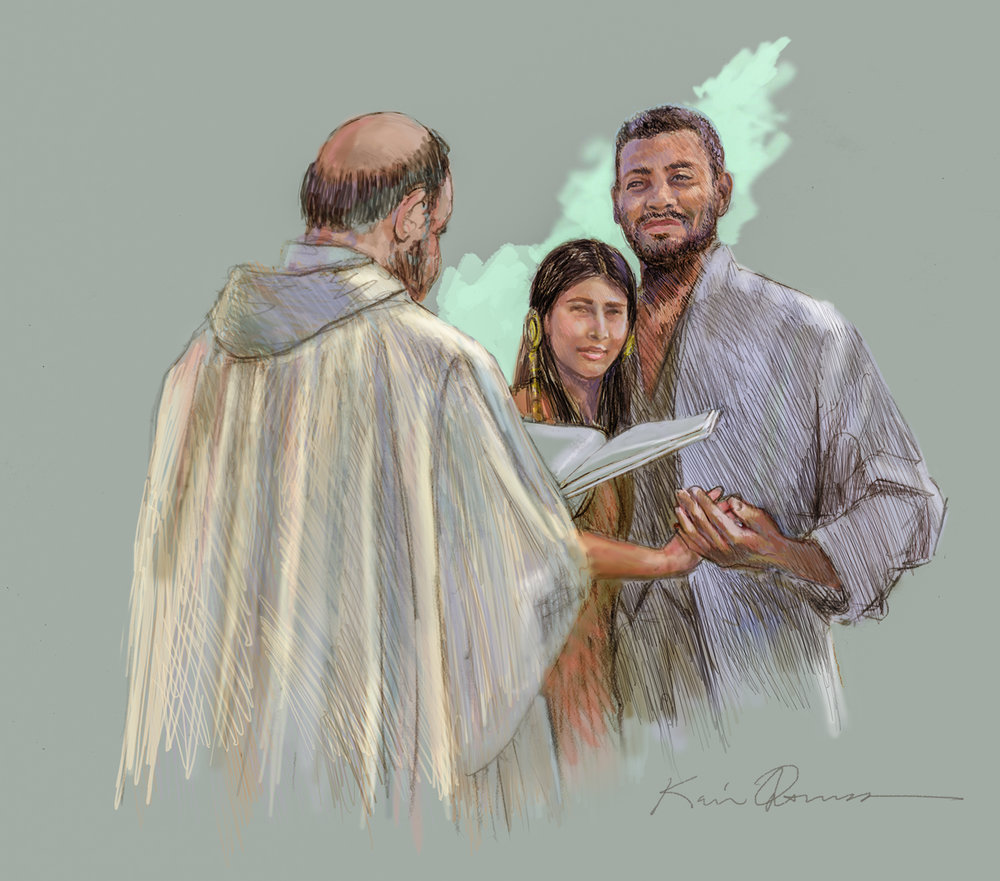 Interracial Marriage • Digital Illustration, Fort Mose Visitors Center St. Augustine, FL. © KT