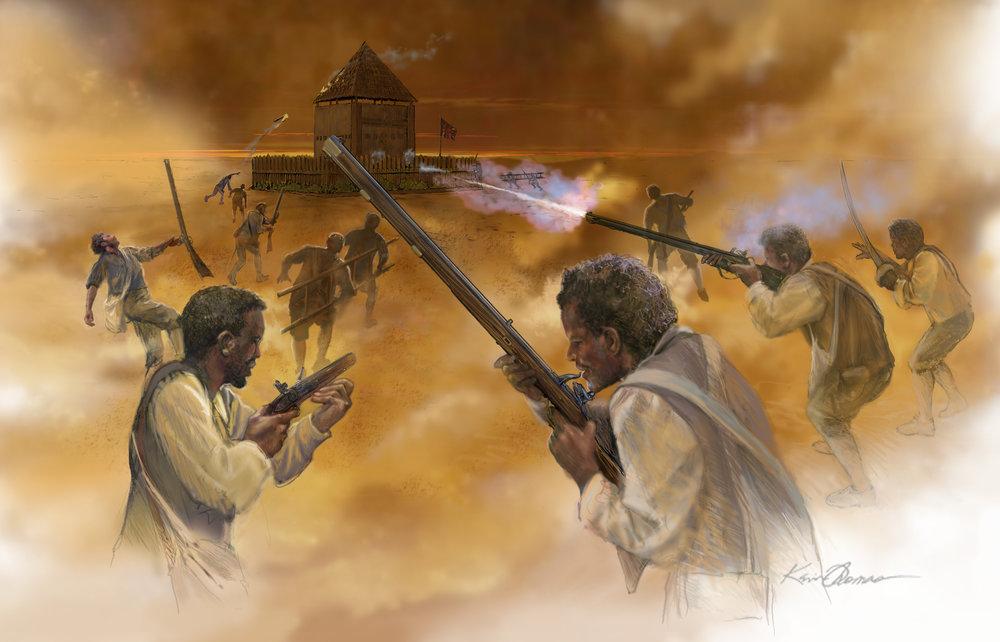 """""""Bloody Battle of Fort Mose"""" • Digital Illustration, Fort Mose Visitors Center • St. Augustine, FL. © KT"""