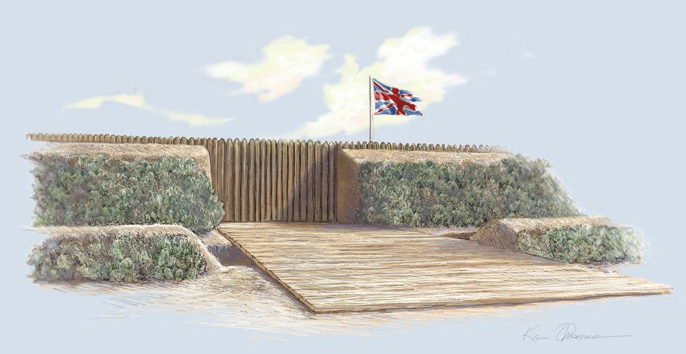 """""""Front Gate of Fort Mose"""" • Digital Illustration, Fort Mose Visitors Center • St. Augustine, FL. © KT"""