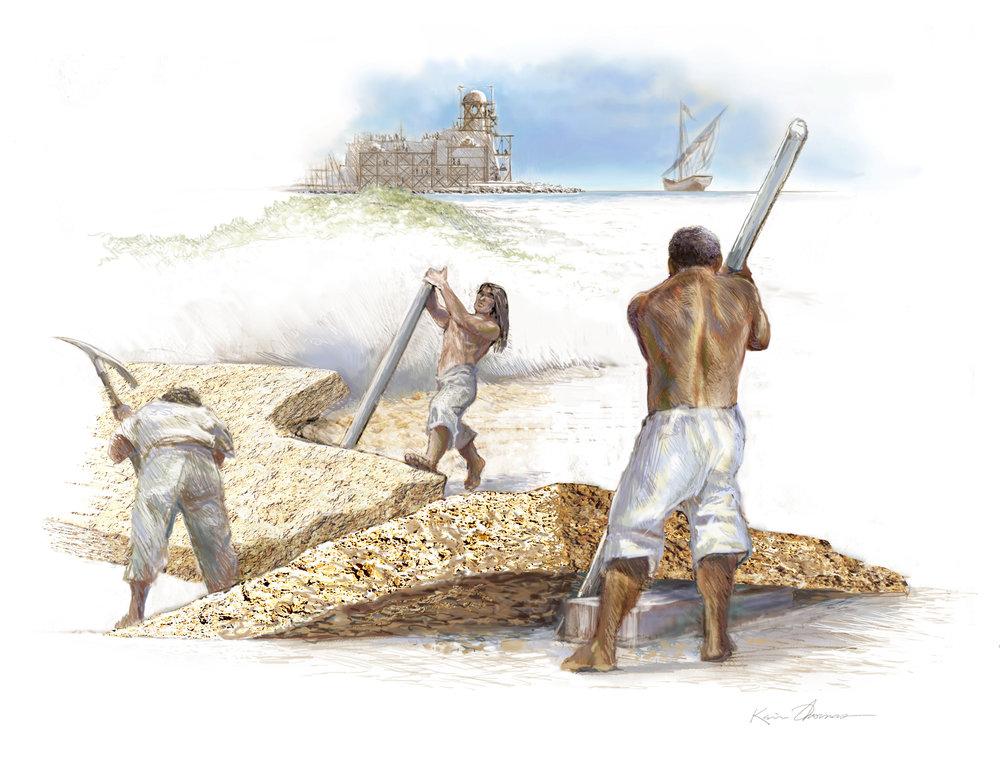 """""""Castillo de San Marcos construction"""" • Digital Illustration, Fort Mose Visitors Center • St. Augustine, FL. © KT"""