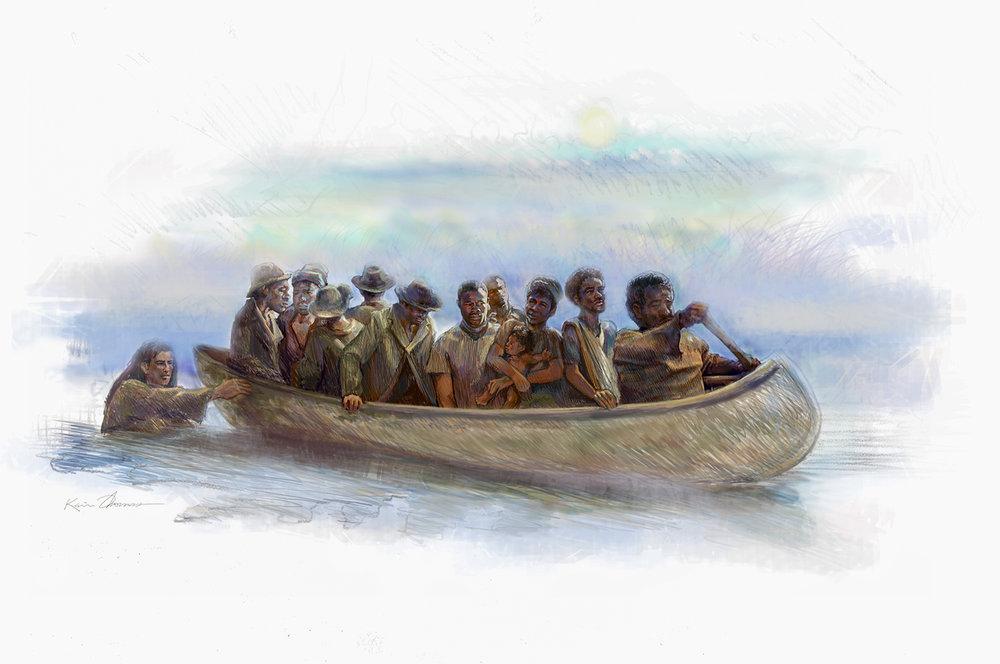 """""""Carolina Runaways"""" • Digital Illustration, Fort Mose Visitors Center • St. Augustine, FL. © KT"""